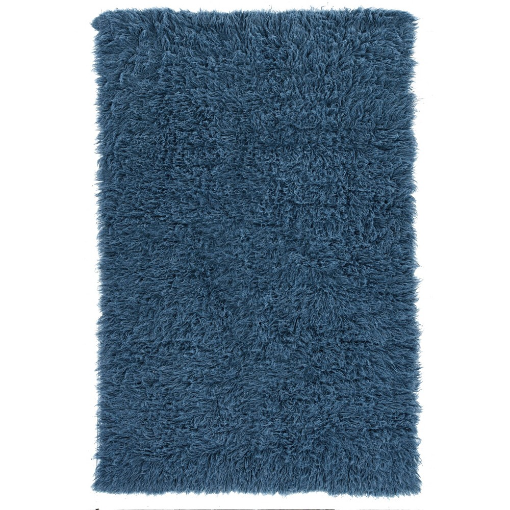 8 39 X10 39 100 New Zealand Wool Flokati Area Rug Denim Blue Linon