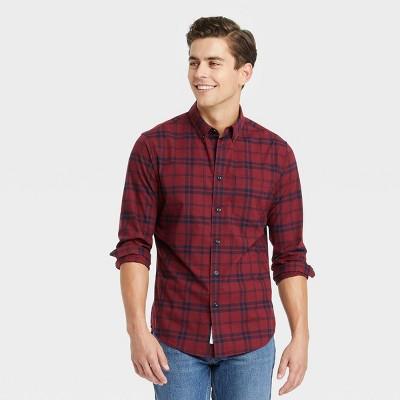 Men's Regular Fit Stretch Poplin Long Sleeve Button-Down Shirt - Goodfellow & Co™