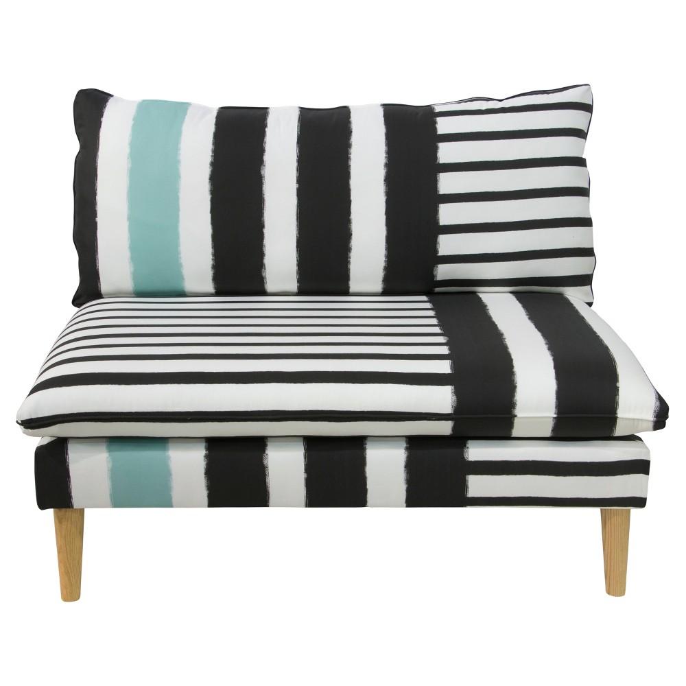 Ella Armless Loveseat - Lido Stripe Turquoise - Skyline Furniture, Multi-Colored