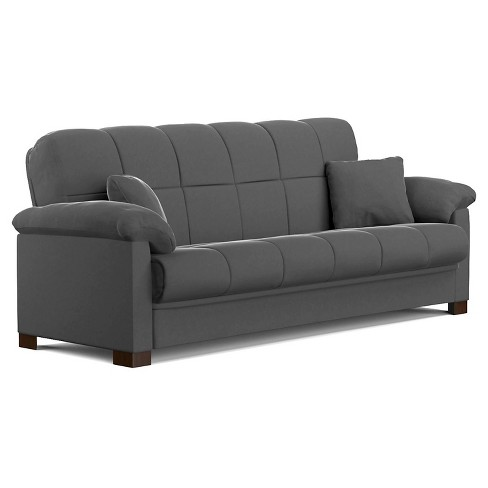 Maurice Microfiber Pillow Top Arm Convert-a-Couch Futon Sofa Sleeper -  Handy Living+D50 - image 1 of 4