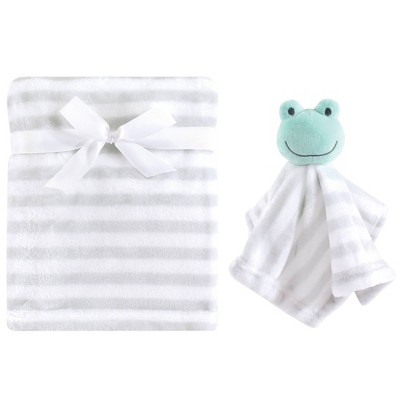Hudson Baby Unisex Baby Plush Blanket with Security Blanket - Gray One Size