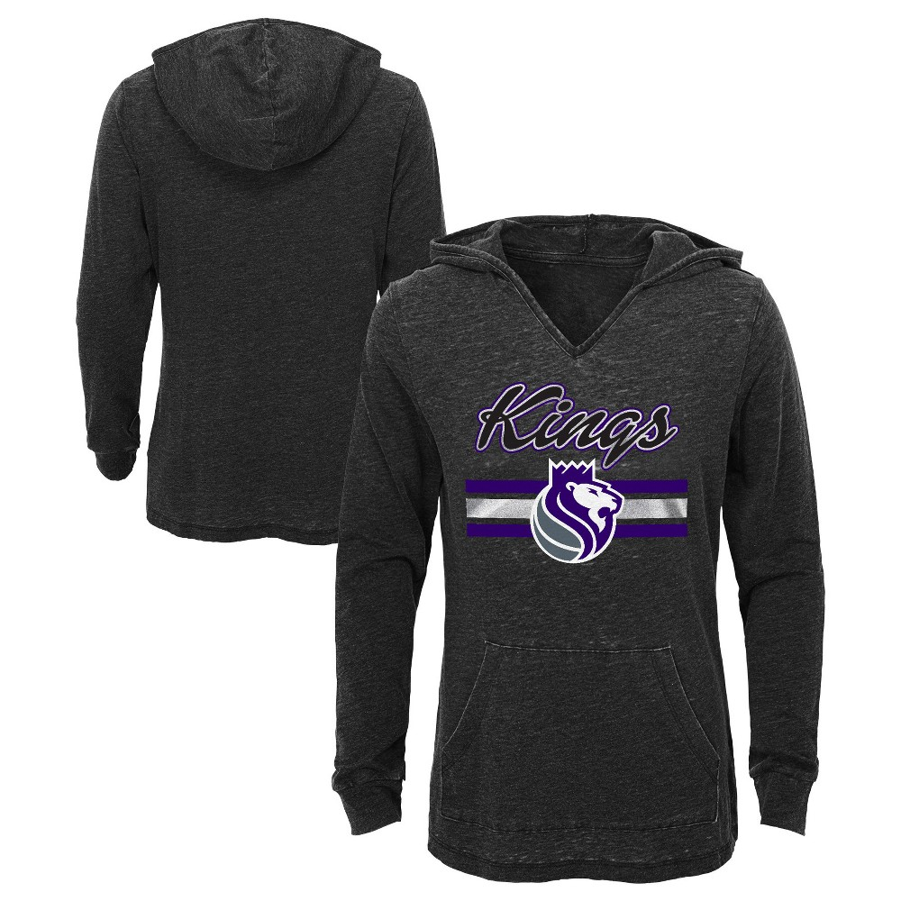 Sacramento Kings Girls' Top of the Key Gray Burnout Hoodie XS, Multicolored