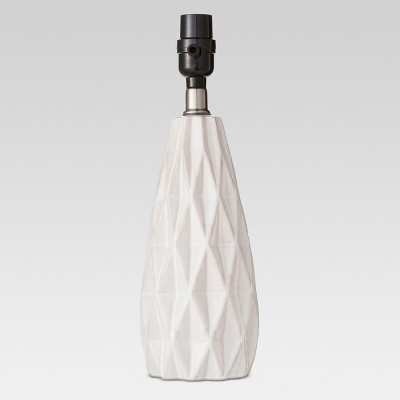 Faceted Ceramic Small Lamp Base White Includes Energy Efficient Light Bulb - Threshold™
