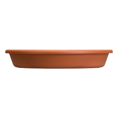 HC Companies Indoor Outdoor Classic Plastic 16.13 Inch Round Plant Flower Pot Planter Deep Saucer Drip Tray, Fits 16 Inch Pot, Clay