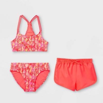 Girls' Snake Print 3pc Bikini Set with Short- art class™ Coral