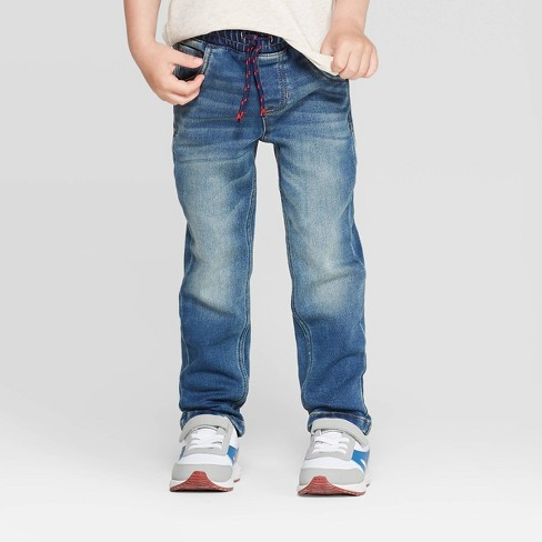 Toddler Boys' Straight Pull-On Jeans - Cat & Jack™ Medium Wash - image 1 of 3