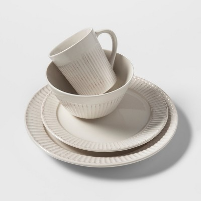 Stoneware 16pc Carved Lines Dinnerware Set White - Threshold™