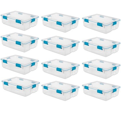 Sterilite 37 Qt Thin Gasket Box Clear Storage Bin Containers, 12-Pack | 19314304