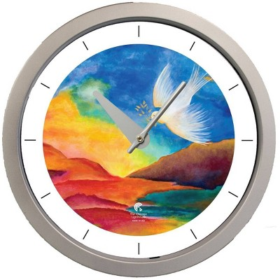 "14.5"" Artist Series Jackie Olenick Shalom Landscape Decorative Clock Silver - The Chicago Lighthouse"