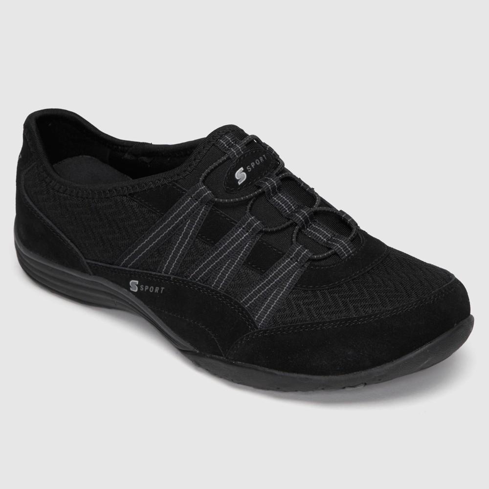 Women's S Sport BY Skechers Relax'd Wide Width Slip on Athletic Shoes - Black 8.5 Wide