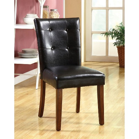 ioHomes Button Tufted Leatherette Padded Chair Wood/Dark Oak (Set of 2) - image 1 of 2