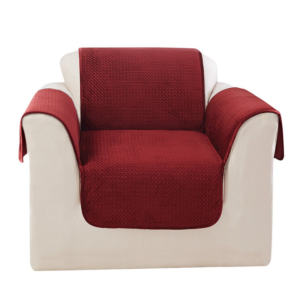Enjoyable Elegant Pick Stitch Chair Furniture Cover Paprika Red Sure Fit Machost Co Dining Chair Design Ideas Machostcouk