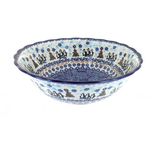 Blue Rose Polish Pottery Arctic Holidays Large Serving Bowl - image 1 of 1