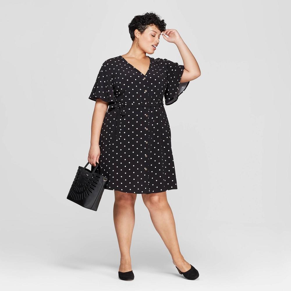 949fe45106 Womens Plus Size V Neck Polka Dot Button Front Dress Ava Viv Black 4X