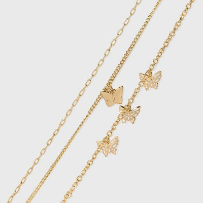 Butterfly Charm Chain Anklet Set 3pc - Wild Fable™ Gold