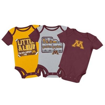 NCAA Minnesota Golden Gophers Baby Boys' 3pc Bodysuit Set