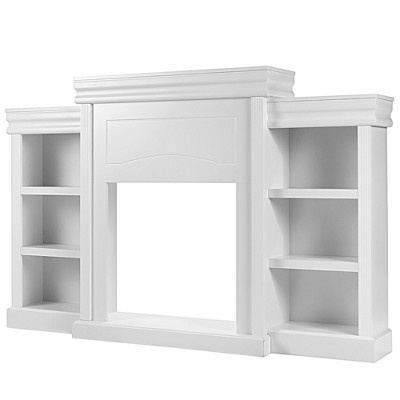 Costway 70'' Fireplace TV Stand Modern Media Entertainment Center Bookcase White\Black