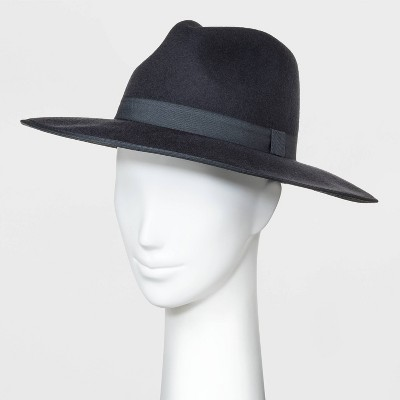 Women's Wide Brim Felt Fedora Hat - A New Day™ Gray One Size