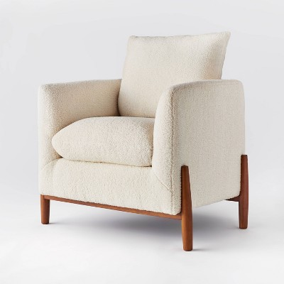 Elroy Sherpa Accent Chair with Wood Legs Cream - Threshold™ designed with Studio McGee