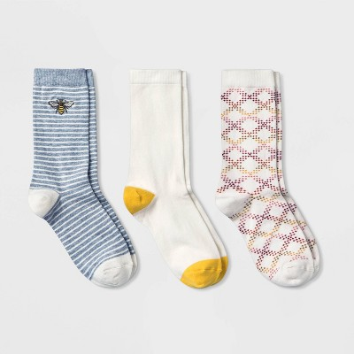 Women's Embroidered Bee 3pk Crew Socks - A New Day™ Heather Gray/Cream/Yellow 4-10