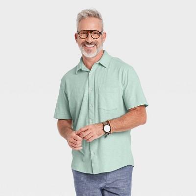 Men's Standard Fit Knit Short Sleeve Button-Down Shirt - Goodfellow & Co™