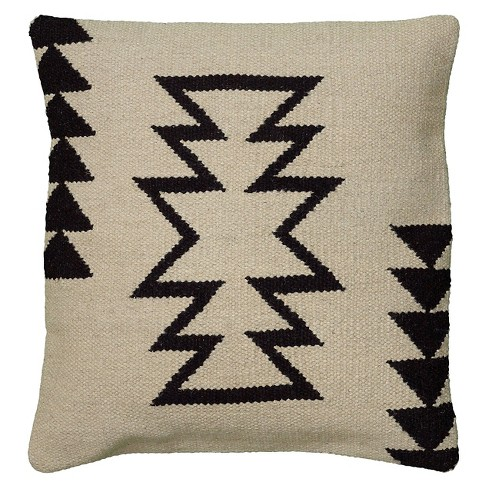 "Ivory/Black Southwestern Stripe Throw Pillow 18""x18"" - Rizzy Home - image 1 of 4"
