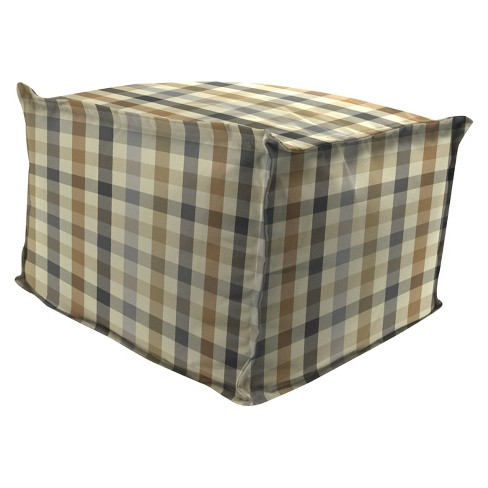 Outdoor Bean Filled Pouf/Ottoman In Sunbrella Connect Dune  - Jordan Manufacturing - image 1 of 2