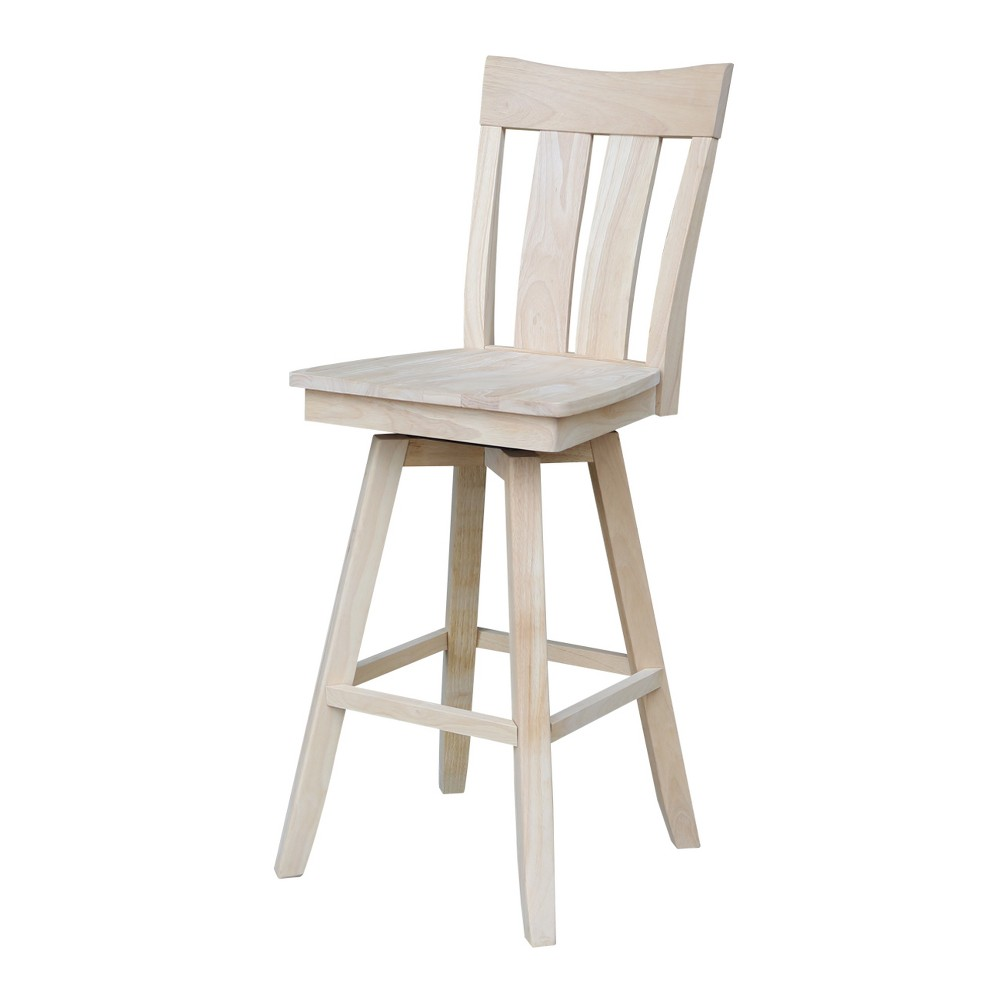 30 Ava Bar height Stool - Unfinished - International Concepts, Wood
