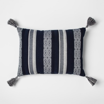 Blue Woven Stripe with Tassels Lumbar Pillow - Threshold™
