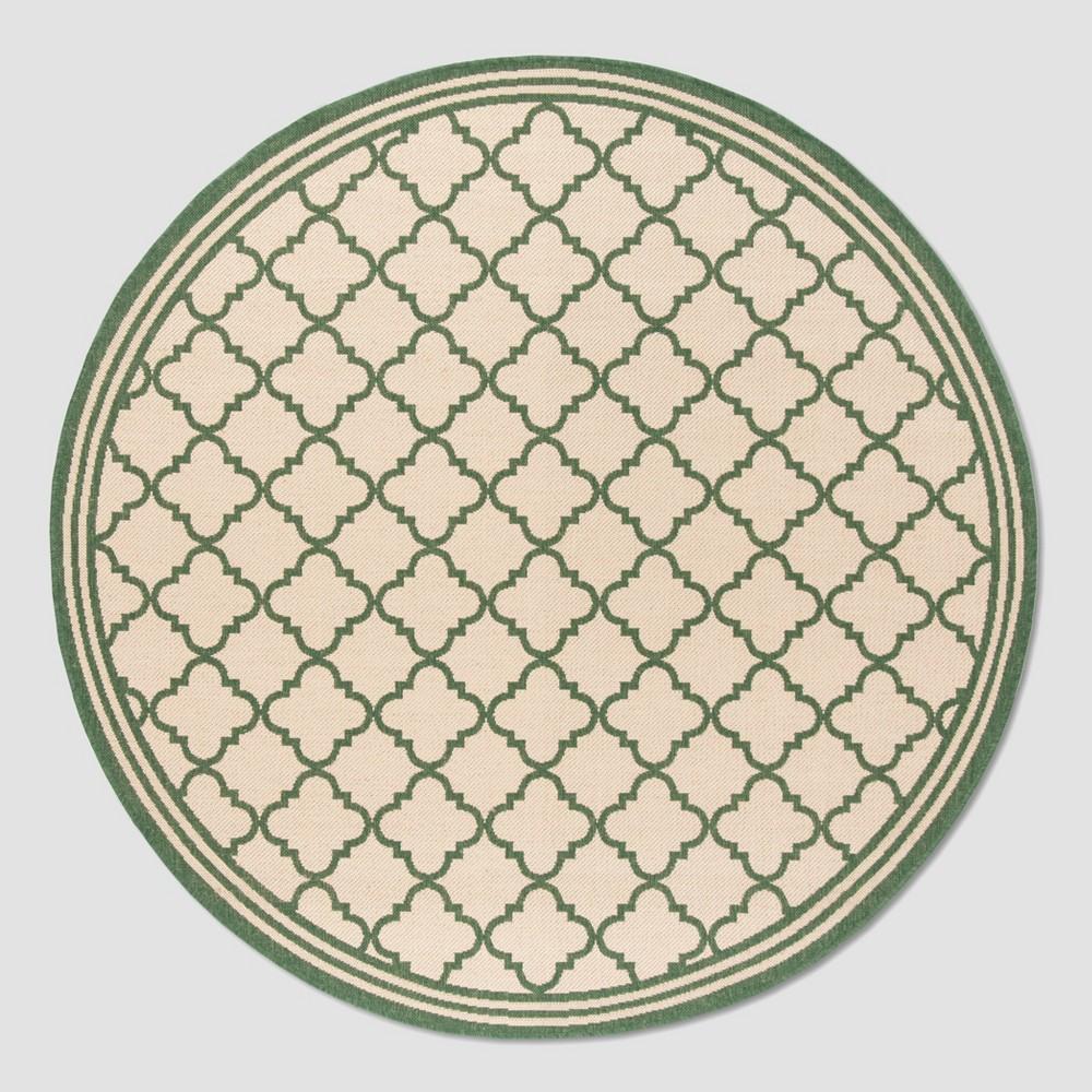 6 39 7 34 Round Dorotha Outdoor Rug Cream Green Safavieh