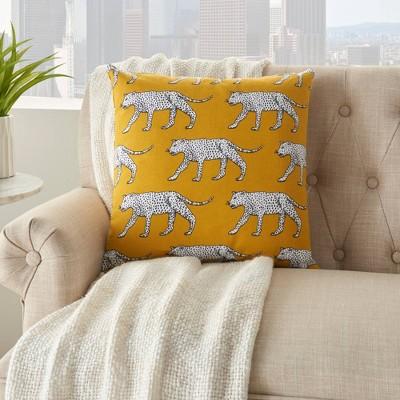 "18""x18"" Life Styles Cheetah Print Throw Pillow Yellow - Mina Victory"