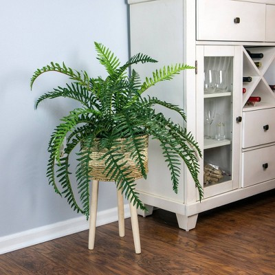 """38"""" x 34"""" Artificial River Fern Plant in Basket Stand - LCG Florals"""