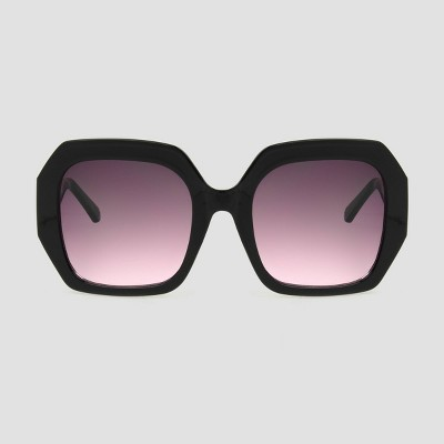 Women's Square Sunglasses with Burgundy Gradient Lenses - A New Day™ Black