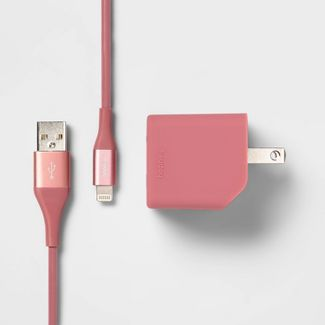 heyday™ 2-Port Wall Charger USB-A & USB-C (with 6' Cable) - Dusty Pink