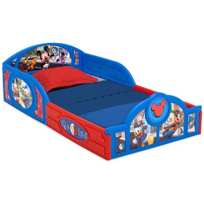 Disney Mickey Mouse Plastic Sleep and Play Toddler Bed with Attached Guardrails - Delta Children