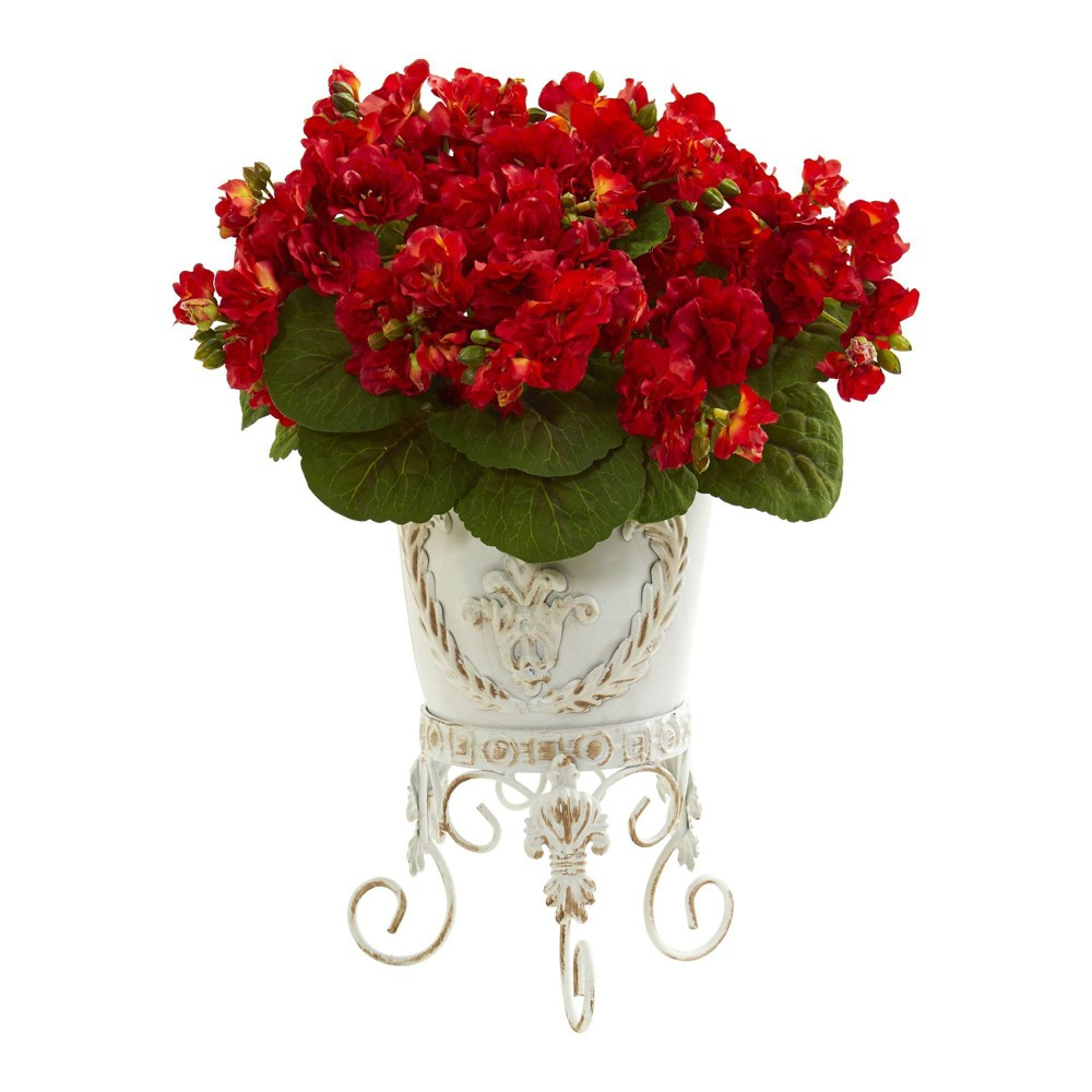 """Image of """"17"""""""" x 12"""""""" Artificial Violet Arrangement in Legged Planter Red/Green - Nearly Natural"""""""