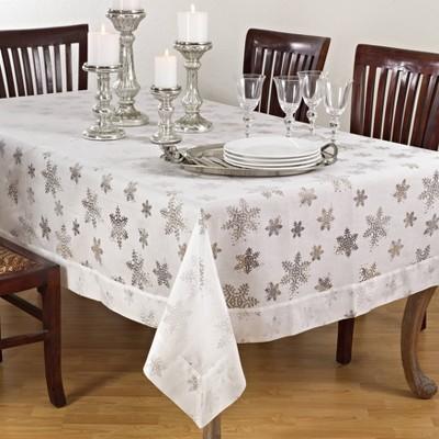 """80""""x80"""" Burnout Snowflake Design Tablecloth White - Saro Lifestyle"""