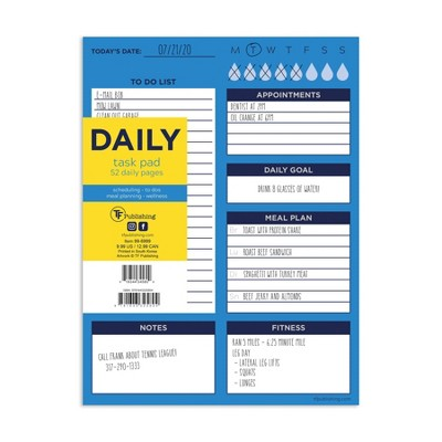 """Undated Planner 8"""" x 6"""" Bright Blue Daily Task Pad - TF Publishing"""