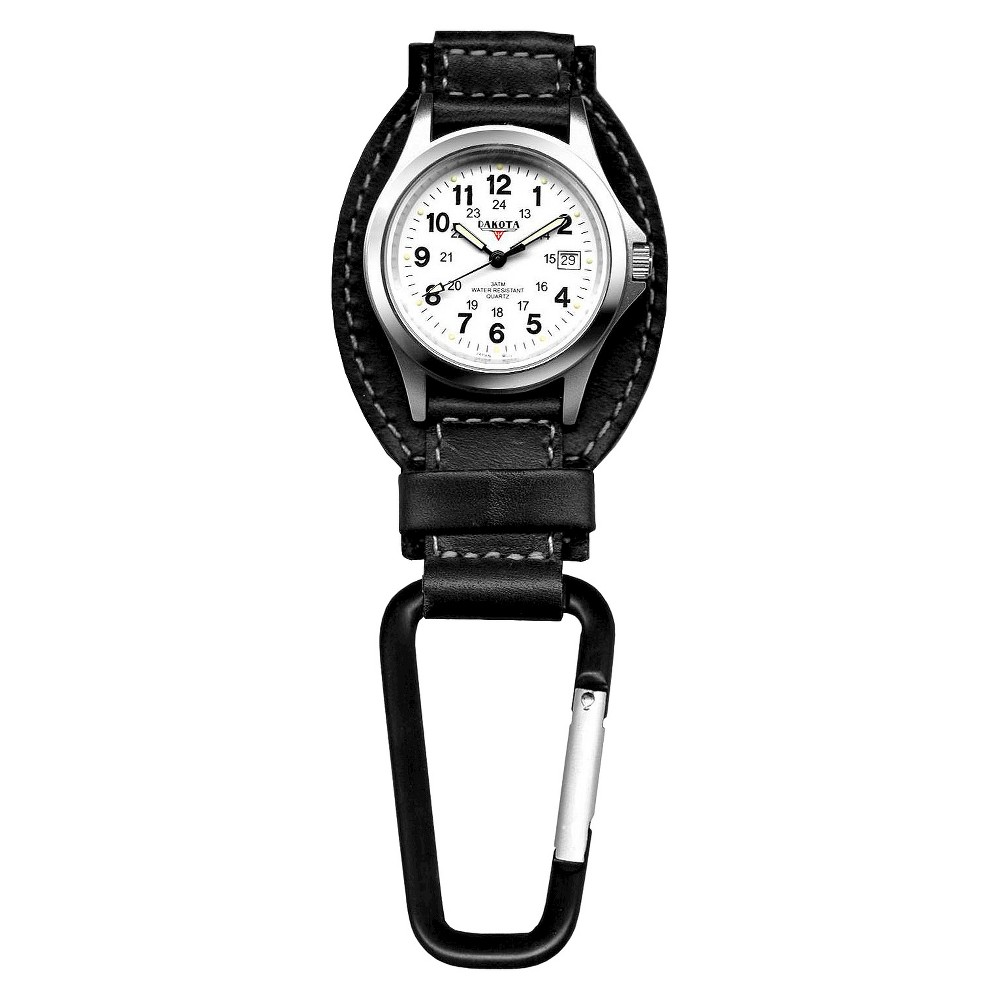 Image of Men's Dakota Leather Clip Watch - Black, Size: Small