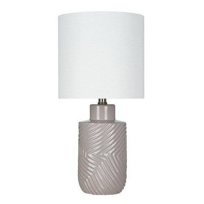 "9.50"" Textured Ceramic Table Lamp (Includes LED Light Bulb) Gray/Brown - Cresswell Lighting"