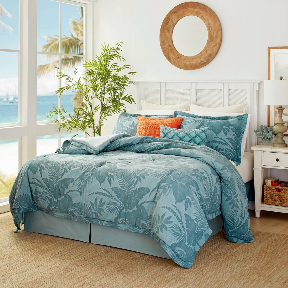 Queen 4pc Abalone Comforter Set Blue Tommy Bahama