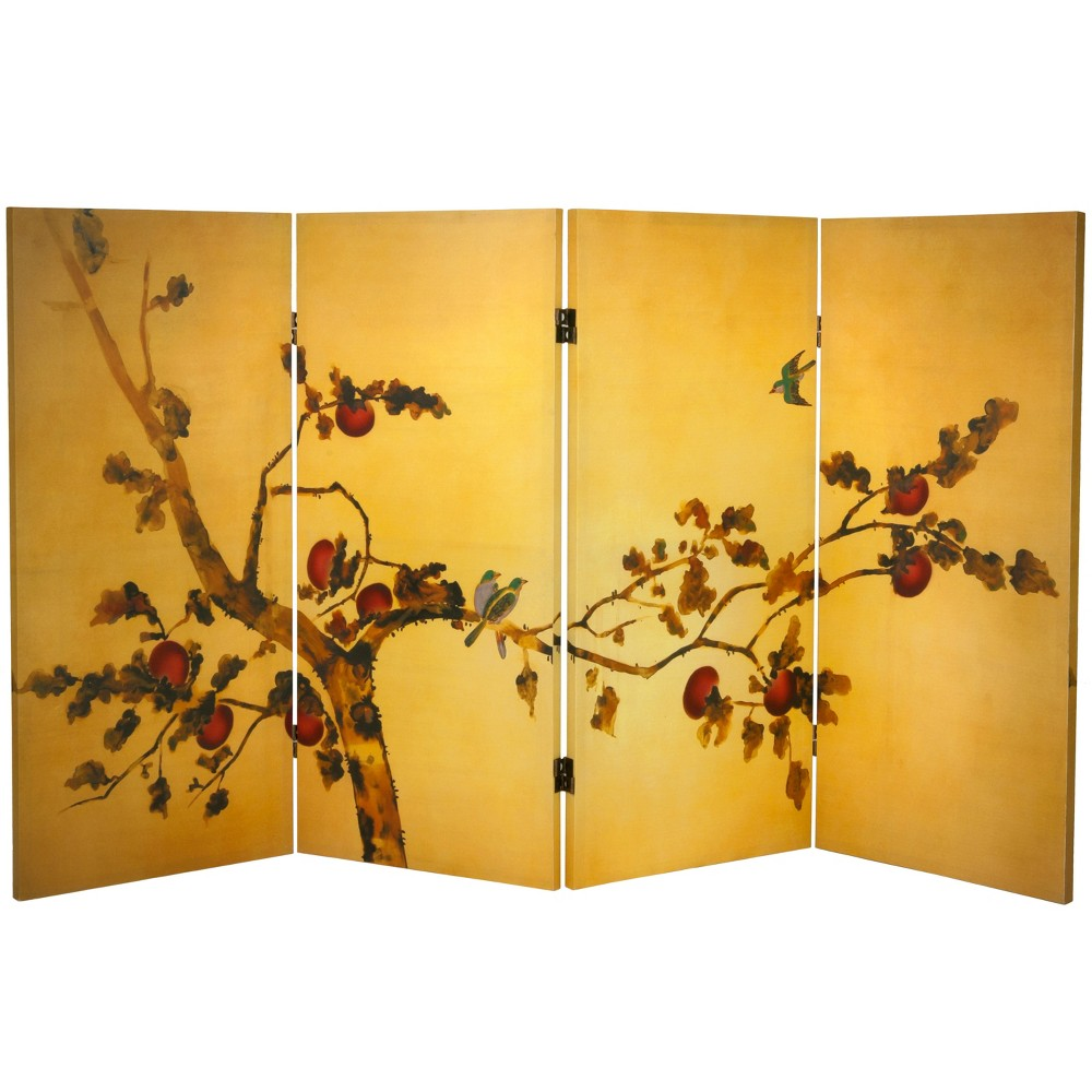 Image of 3' Tall Double Sided Birds On Plum Tree Canvas Room Divider - Oriental Furniture, Gold