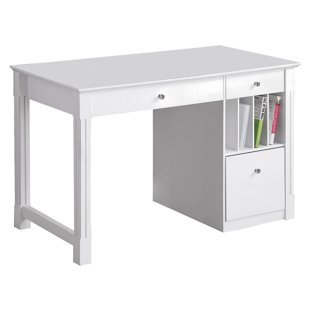 Home Office Deluxe Storage Computer Desk - White Wood - Saracina Home
