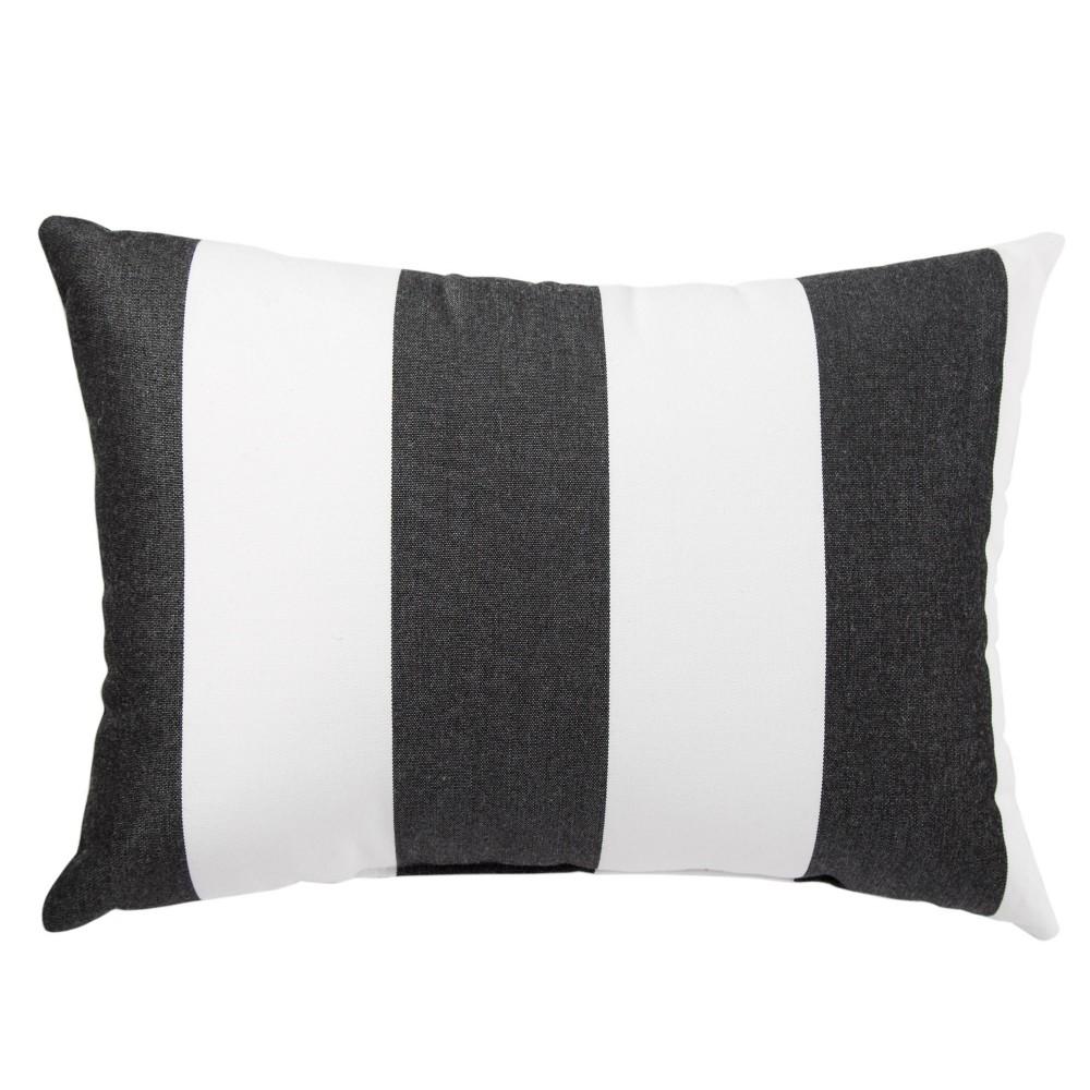 "Image of ""13""""x18"""" Shallows Indoor/Outdoor Stripe Throw Pillow Black/White - Jaipur Living, White Black"""