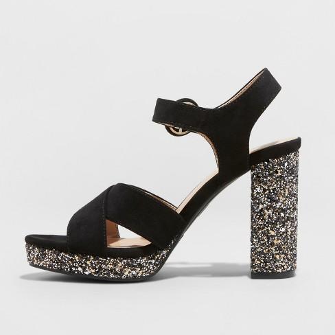 0673f30e9b28 Women s Fiona Glitter Satin Crossband Platform Quarter Strap Sandal - A New  Day™ Black 12   Target