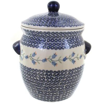 Blue Rose Polish Pottery Tulip Cookie Jar