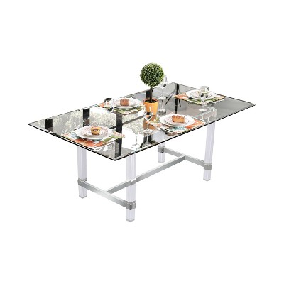 "72"" Soren Rectangular Glass Dining Table Clear - miBasics"