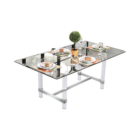 "72"" Soren Rectangular Glass Dining Table Clear - miBasics - image 1 of 3"