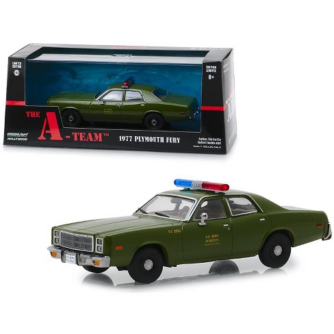 """1977 Plymouth Fury U.S. Army Police """"The A-Team"""" (1983-1987) TV Series 1/43 Diecast Model Car by Greenlight - image 1 of 2"""