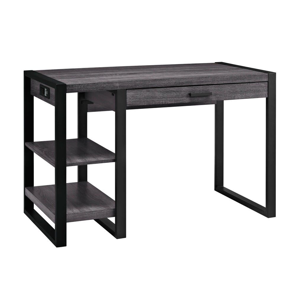 Complete your home office with this urban tech desk. Features a built in USB port and AC plug-in for additional power supply. Its open side shelving and pull-out drawer provide ample storage space to fit your office essentials. Crafted from high-grade MDF and powder-coated metal legs for a sturdy yet stylish office desk. Additional Dimensions: Overall Height: 30\\\